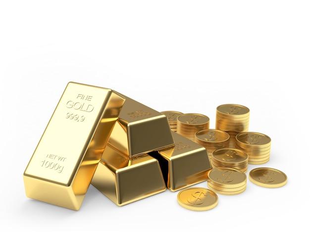 Grupo de moedas e barras de ouro