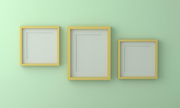 Grupo de moldura para retrato amarela na parede verde. 3d rendem.