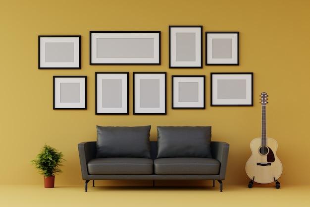 Grupo de moldura para retrato na parede com sofá e móveis na moderna sala de estar amarela. 3d rendem.