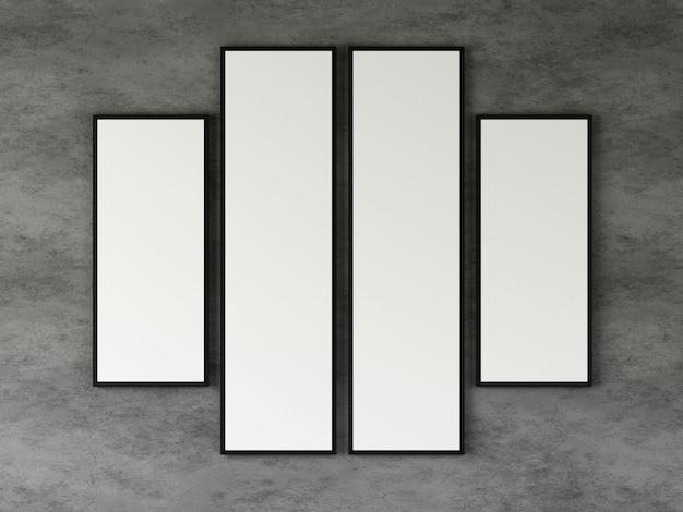 Grupo de moldura para retrato na parede de concreto. 3d rendem.