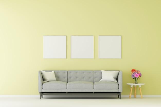 Grupo de moldura para retrato simulado acima com sofá na sala de estar. renderização em 3d.