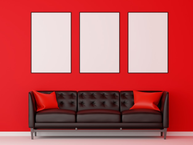Grupo de moldura para retrato simulado acima com sofá preto na sala de estar vermelha. renderização em 3d.
