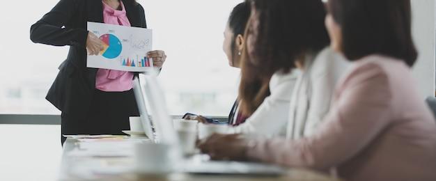 Grupo de mulheres de negócios reunidas no escritório, líder ou gerente segurando gráfico e gráfico enquanto explicam detalhes e significados para o público, os colegas a ouvem e expressam compreensão.