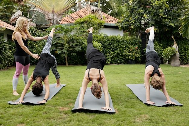 Grupo de mulheres fazendo yoga ao ar livre, realizando pose de golfinho