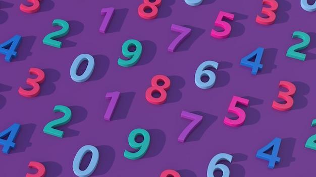 Grupo de números coloridos. fundo roxo, ilustração abstrata, renderização 3d.