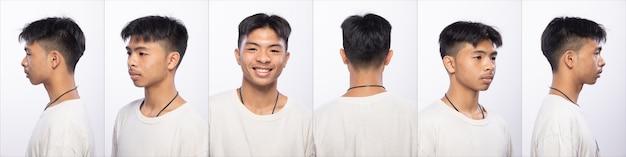 Grupo de pacote de colagem de homem adolescente asiático antes de compor o estilo de cabelo. sem retoque, rosto fresco com pele bonita e macia. visão traseira lateral traseira iluminação do estúdio com fundo branco isolado 360