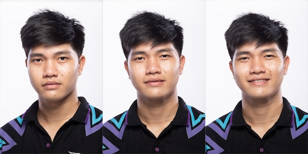 Grupo de pacote de colagem de homem adolescente asiático antes de compor o estilo de cabelo. sem retoque, rosto fresco com pele bonita e macia. vista traseira do lado traseiro fundo branco da iluminação do estúdio isolado.