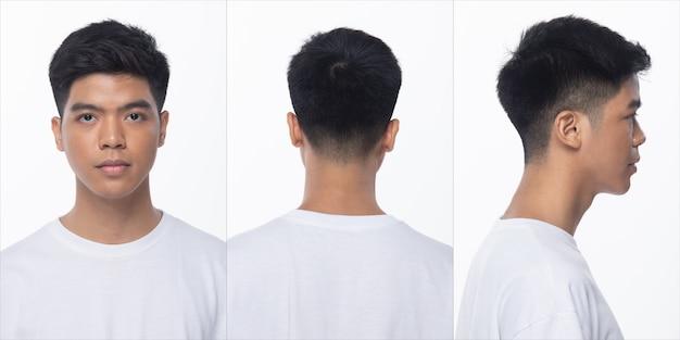 Grupo de pacote de colagem de homem adolescente asiático após maquiagem estilo de cabelo. nenhum retoque, rosto da moda, expressar muitos sentimentos e poses. iluminação de estúdio com fundo branco isolado, vista traseira lateral traseira