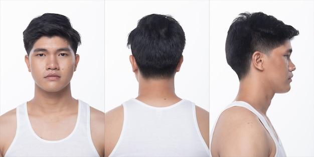 Grupo de pacote de colagem de homem adolescente asiático após maquiagem estilo de cabelo. nenhum retoque, rosto da moda, expressar muitos sentimentos e poses. iluminação de estúdio com fundo branco isolado, vista traseira traseira 360