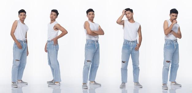 Grupo de pacote de colagem de homem adolescente asiático expressa muitos posando de representação em corpo de encaixe de corpo inteiro. fundo branco da iluminação do estúdio isolado.