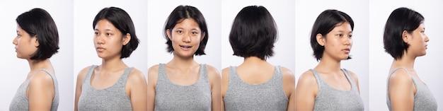 Grupo de pacote de colagem de mulher adolescente asiática antes de compor o estilo de cabelo. sem retoque, rosto fresco com pele bonita e macia. visão traseira lateral traseira iluminação do estúdio com fundo branco isolado 360