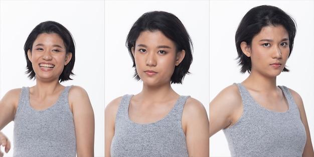 Grupo de pacote de colagem de mulher adolescente asiática após maquiagem estilo de cabelo. nenhum retoque, rosto da moda, expressar muitos sentimentos e poses. iluminação de estúdio com fundo branco isolado, retrovisor retrovisor