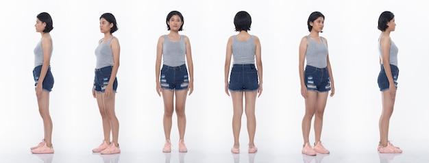 Grupo de pacote de colagem de mulher adolescente asiática expressa muitas poses atuando em corpo de encaixe de corpo inteiro. fundo branco da iluminação do estúdio isolado. traseira lateral traseira vista 360