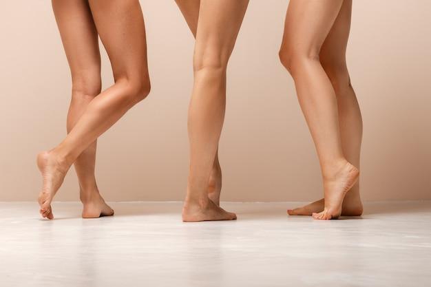 Grupo de pernas femininas multiétnicas com diferentes tipos de pele e corpo