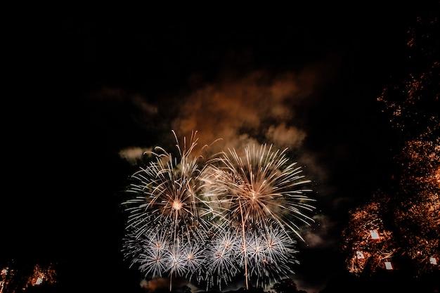 Grupo de pessoas assistindo fogos de artifício e usando celulares para registrar o evento. pessoas capturando um show de fogos de artifício com seus telefones celulares. celebração de fogos de artifício coloridos e o fundo do céu noturno