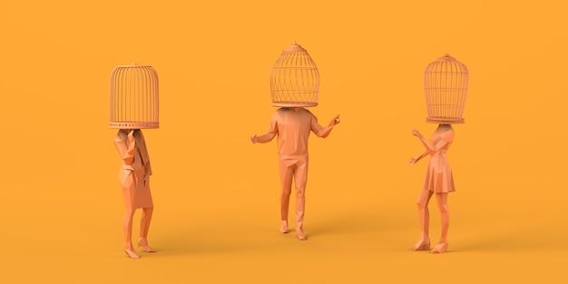 Grupo de pessoas conversando com uma gaiola em vez da cabeça conceito abstrato de liberdade ilustração 3d