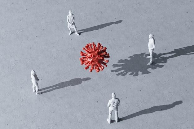 Grupo de pessoas em miniatura com distância entre eles, setas desenhadas no chão entre figuras renderizadas em 3d