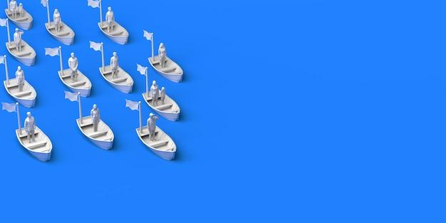 Grupo de pessoas navegando no mar em pequenas embarcações. conceito de imigração. ilustração 3d. copie o espaço.