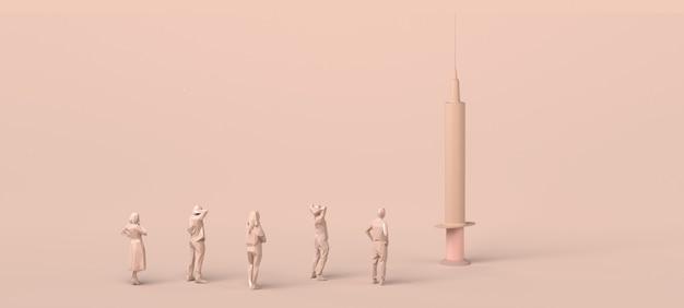 Grupo de pessoas observando uma seringa de vacina. ilustração 3d.