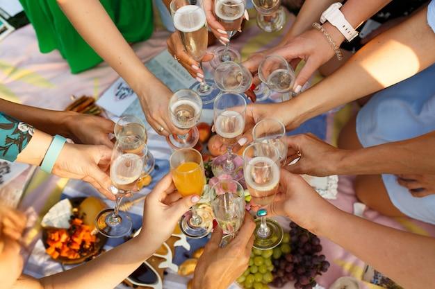 Grupo de pessoas que têm a união exterior da refeição do piquenique que janta vidros brindando. fins de semana de verão