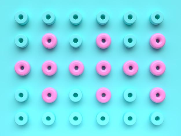 Grupo de plano de fundo de cena plana leigos de padrão de forma geométrica rosa azul conjunto mínimo abstrato renderização em 3d