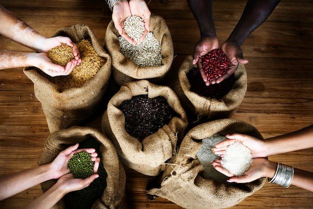 Grupo, de, punhado, de, colheitas, sementes, em, vista aérea