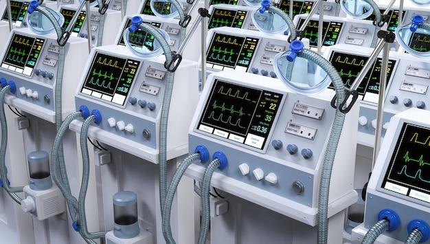 Grupo de renderização 3d de máquinas de ventilação em hospital