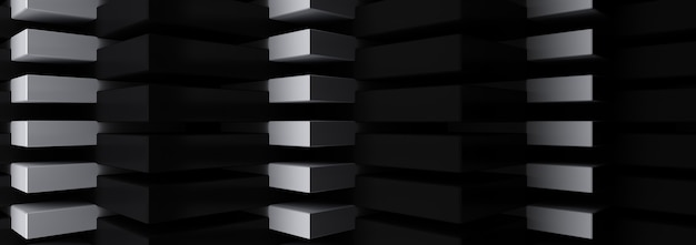 Grupo de renderização 3d de triângulo, fundo abstrato preto e branco.