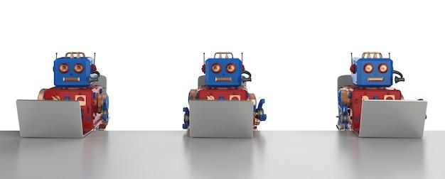 Grupo de robôs de renderização 3d trabalhando em um laptop
