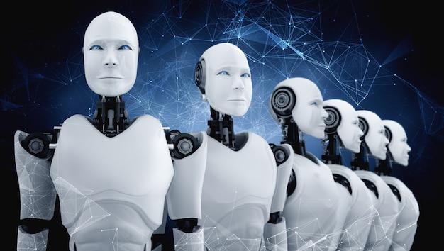 Grupo de robôs humanóides em pé com futuro gráfico