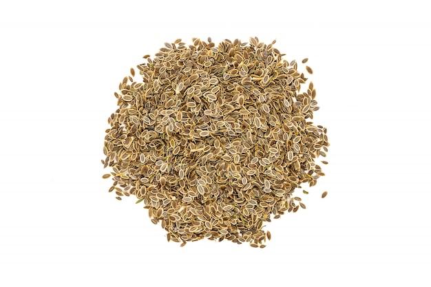 Grupo de sementes de aneto, fim acima, isolado.