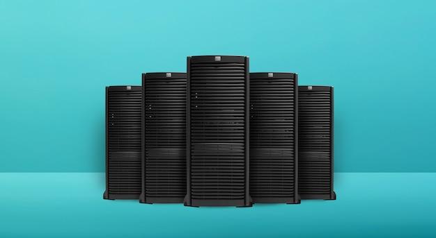 Grupo de servidores com conexão rápida de rede digital. fundo ciano