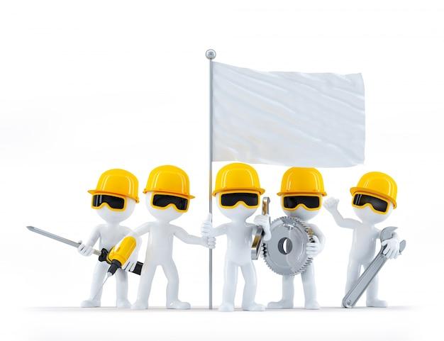 Grupo de trabalhadores da construção / construtores com ferramentas e bandeira em branco. isolado no fundo branco