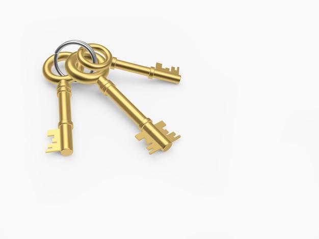 Grupo de três chaves retrô douradas isoladas