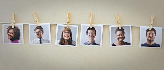Grupo de um retrato de fotos