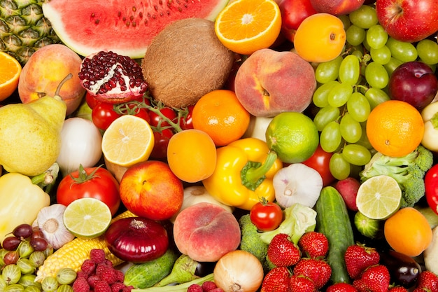 Grupo de vegetais e frutas