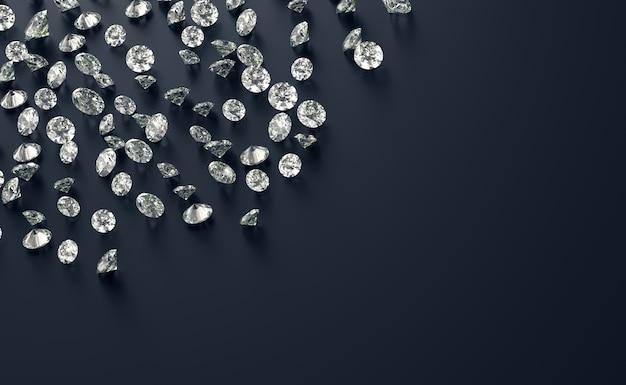 Grupo diamante colocado em fundo preto com renderização 3d de espaço de cópia
