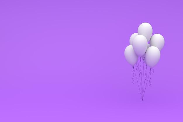 Grupo dos balões do aniversário que voam para o partido e as celebrações com copyspace para a mensagem isolada no roxo. renderização 3d para aniversário, festa,
