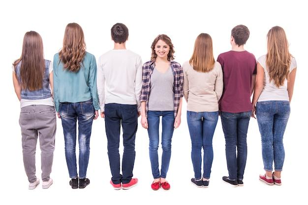 Grupo jovem, ficar, com, seu, costas