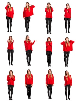 Grupo jovem gestos e conceitos mulher