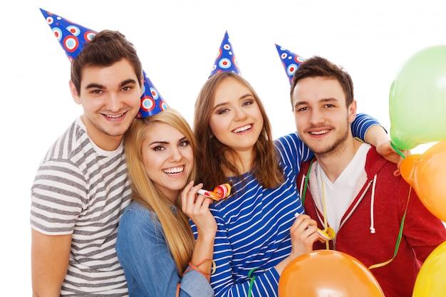 Grupo jovens, tendo, um, partido aniversário