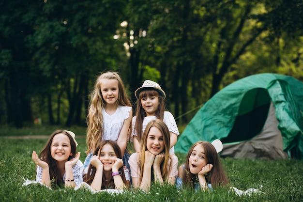 Grupo meninas, acampar, em, floresta