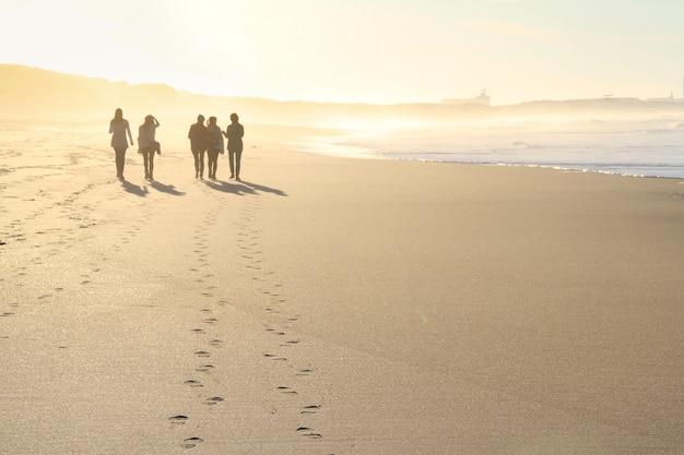 Grupo pessoas, andar praia, em, pôr do sol
