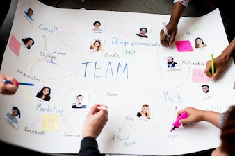Grupo pessoas, brainstorming, reunião, em, a, sala