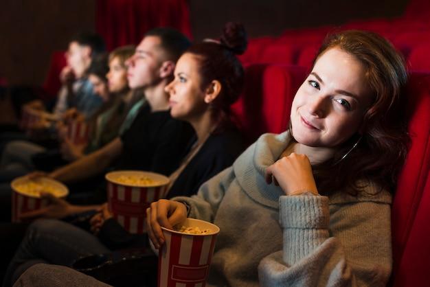 Grupo pessoas, em, cinema