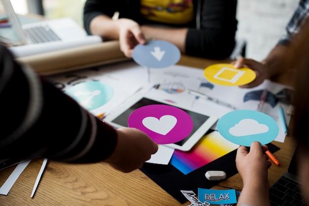 Grupo pessoas, reunião, idéias, compartilhar, apoio, togetherness