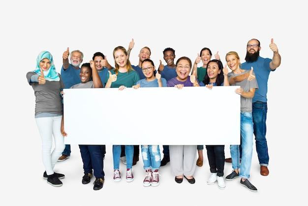 Grupo pessoas, segurando, um, bandeira