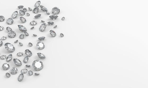 Grupo realista de diamante no fundo branco com cópia espaço vista superior renderização em 3d