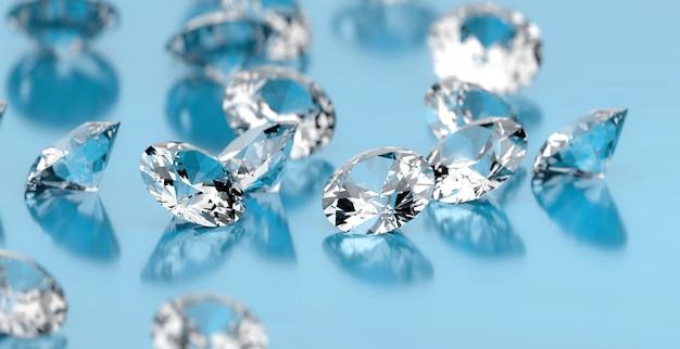 Grupo redondo dos diamantes colocado na superfície azul, ilustração 3d.