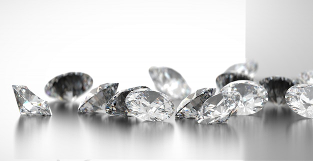 Grupo redondo dos diamantes colocado no fundo lustroso, 3d rendição, foco macio.